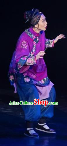 Drama Lan Huahua Chinese Folk Dance Old Female Purple Dress Stage Performance Dance Costume and Headpiece for Women