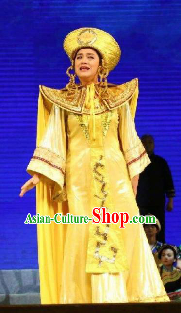Goddess Ya Song Chinese Classical Dance Yellow Dress Stage Performance Dance Costume and Headpiece for Women
