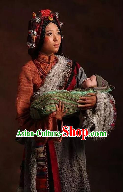 The Heavenly Road Chinese Zang Nationality Dance Tibetan Robe Stage Performance Dance Costume and Headpiece for Women