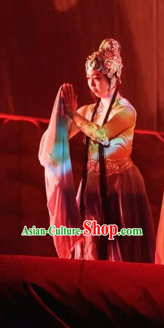 Goddess of the Moon Chinese Peri Classical Dance Dress Stage Performance Dance Costume and Headpiece for Women