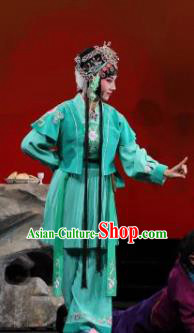 Mei Hua Zan Ceremony Chinese Beijing Opera Maidservant Green Dress Stage Performance Dance Costume and Headpiece for Women