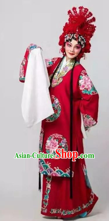 Fan Lihua Chinese Han Opera Diva Red Dress Stage Performance Dance Costume and Headpiece for Women