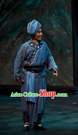Drama Qian Yun Cliff Chinese Zhuang Nationality Youth Clothing Stage Performance Dance Costume and Headpiece for Men