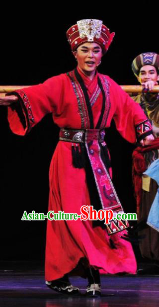 Drama Qian Yun Cliff Chinese Zhuang Nationality Bridegroom Red Clothing Stage Performance Dance Costume and Headpiece for Men