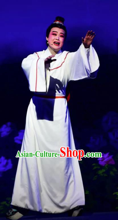 Amber Fate Chinese Beijing Opera Niche White Clothing Stage Performance Dance Costume and Headpiece for Men