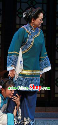 Shi Niang Chinese Classical Dance Old Lady Green Dress Stage Performance Dance Costume and Headpiece for Women