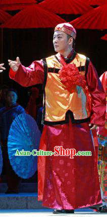 Shi Niang Chinese Ancient Bridegroom Clothing Stage Performance Dance Costume and Headpiece for Men