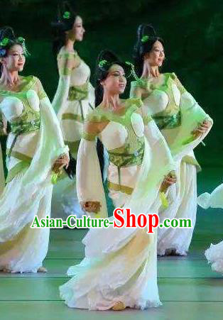 Chinese Orphan Classical Dance Green Dress Stage Performance Dance Costume and Headpiece for Women