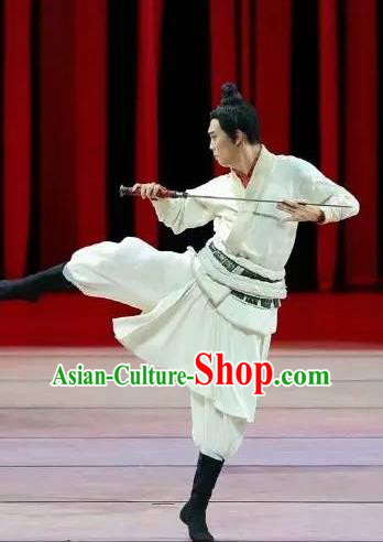Drama Chinese Orphan Chinese Ancient Swordsman White Clothing Stage Performance Dance Costume and Headpiece for Men