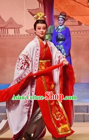 Amber Fate Chinese Beijing Opera Niche Red Clothing Stage Performance Dance Costume and Headpiece for Men