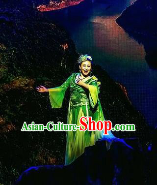 Hometown of Dragon Boat Tune Chinese Classical Dance Green Dress Stage Performance Dance Costume and Headpiece for Women
