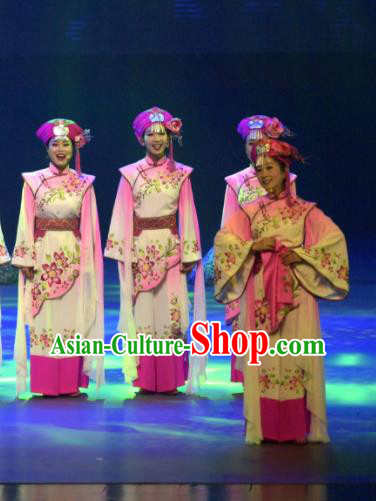 Hometown of Dragon Boat Tune Chinese Tujia Nationality Dance Pink Dress Stage Performance Dance Costume and Headpiece for Women