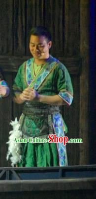 Hometown of Dragon Boat Tune Chinese Tujia Nationality Green Clothing Stage Performance Dance Costume and Headpiece for Men