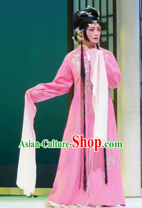 Xiang Luo Ji Chinese Shaoxing Opera Pink Dress Stage Performance Dance Costume and Headpiece for Women