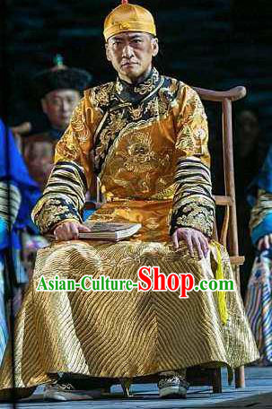 Beijing Fayuansi Chinese Ancient Qing Dynasty Emperor Guangxu Golden Clothing Stage Performance Dance Costume and Headpiece for Men