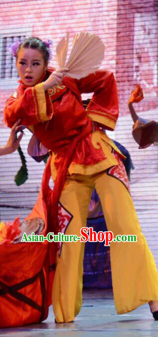 Gucuo Marriage Chinese Folk Dance Outfits Stage Performance Dance Costume and Headpiece for Women