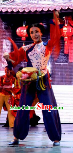 Gucuo Marriage Chinese Folk Dance Drum Dance Stage Performance Costume and Headpiece for Women