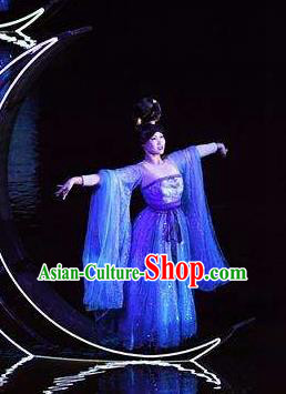 Return To the Three Gorges Chinese Classical Dance Blue Dress Stage Performance Costume and Headpiece for Women