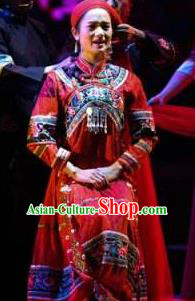 Buyi Ba Yin Chinese Bouyei Nationality Wedding Red Dress Stage Performance Dance Costume and Headpiece for Women