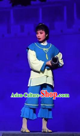 Amber Fate Chinese Beijing Opera Servant Girl Blue Dress Stage Performance Dance Costume and Headpiece for Women