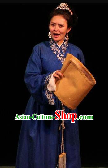 Cai Wenji Chinese Opera Ancient Poetess Navy Dress Stage Performance Dance Costume and Headpiece for Women