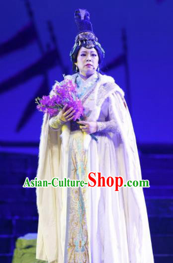 Cai Wenji Chinese Opera Ancient Imperial Consort White Dress Stage Performance Dance Costume and Headpiece for Women