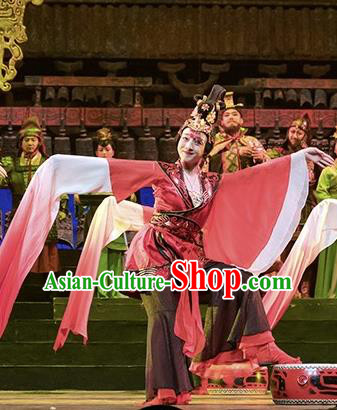 Cai Wenji Chinese Opera Classical Dance Red Dress Stage Performance Dance Costume and Headpiece for Women