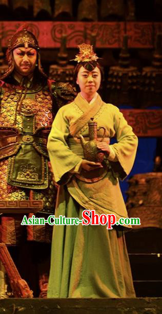 Cai Wenji Chinese Opera Ancient Court Maid Dress Stage Performance Dance Costume and Headpiece for Women