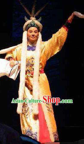 Cai Wenji Chinese Opera Ancient Huns Prince Yellow Clothing Stage Performance Dance Costume and Headpiece for Men