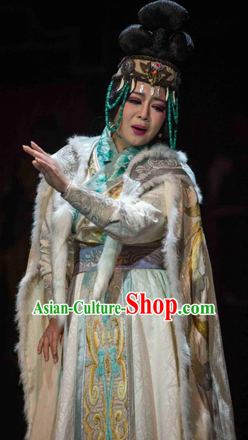 Cai Wenji Chinese Opera Ancient Huns Consort Dress Stage Performance Dance Costume and Headpiece for Women