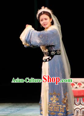 Cai Wenji Chinese Opera Ancient Female Litterateur Blue Dress Stage Performance Dance Costume and Headpiece for Women