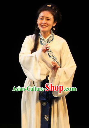 Cai Wenji Chinese Opera Ancient Female Litterateur White Dress Stage Performance Dance Costume and Headpiece for Women