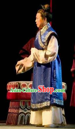 Cai Wenji Chinese Opera Ancient Old Female Blue Dress Stage Performance Dance Costume and Headpiece for Women