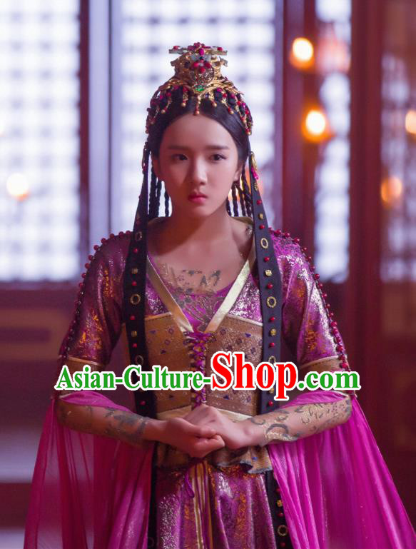 Chinese Drama Young Blood Ancient Royal Princess Pei Jing Purple Costumes and Headpiece for Women