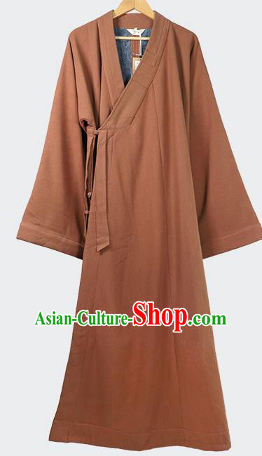 Traditional Chinese Monk Costume Winter Caramel Woolen Long Gown for Men