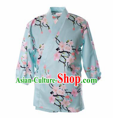 Traditional Japanese Printing Peach Flowers Blue Shirt Kimono Asian Japan Costume for Men