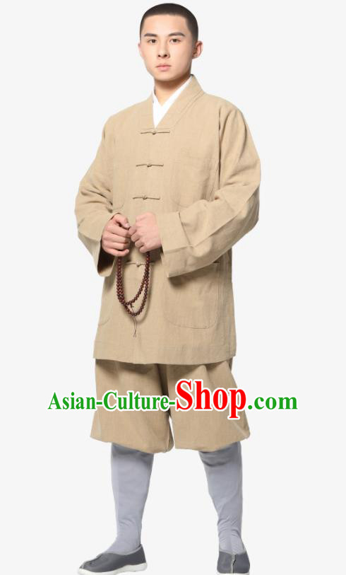 Traditional Chinese Monk Costume Meditation Khaki Ramie Shirt and Pants for Men