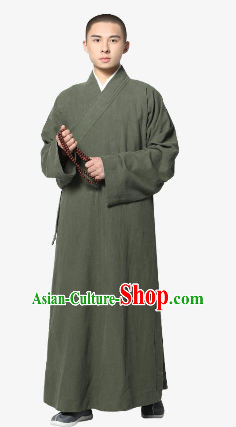 Traditional Chinese Monk Costume Olive Green Ramie Long Gown for Men
