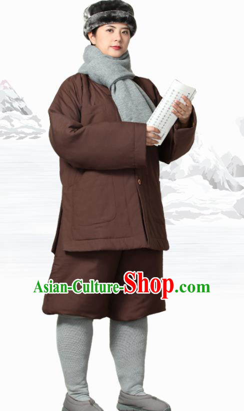 Traditional Chinese Monk Costume Meditation Outfits Brown Cotton Wadded Jacket Shirt and Pants for Men