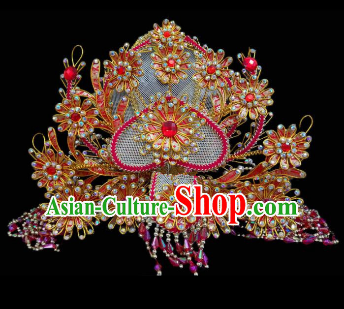 Chinese Traditional Beijing Opera Hair Accessories Peking Opera Diva Red Beads Phoenix Coronet for Adults