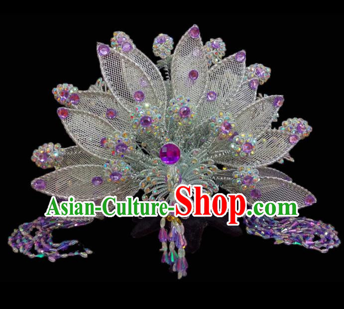 Chinese Traditional Beijing Opera Hair Accessories Peking Opera Diva Purple Beads Phoenix Coronet for Adults