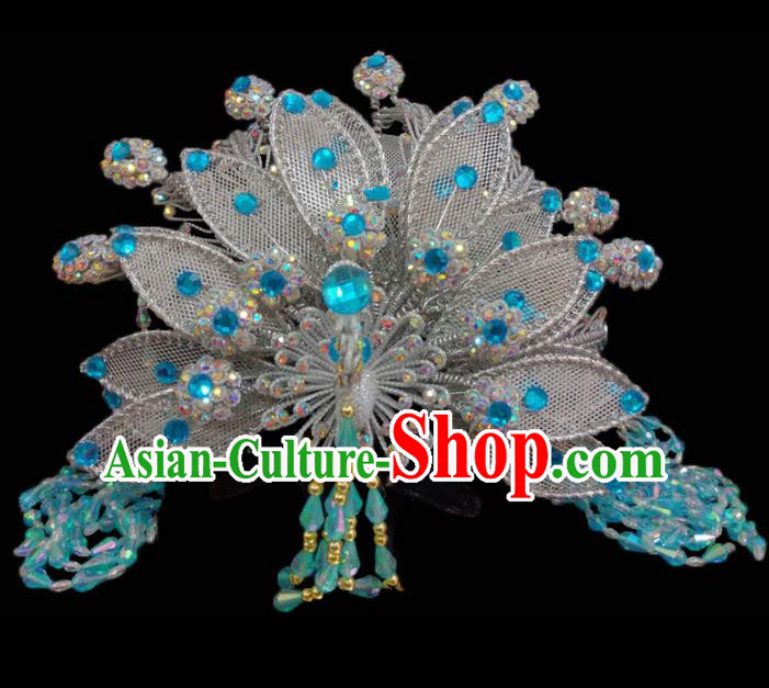 Chinese Traditional Beijing Opera Hair Accessories Peking Opera Diva Blue Beads Phoenix Coronet for Adults
