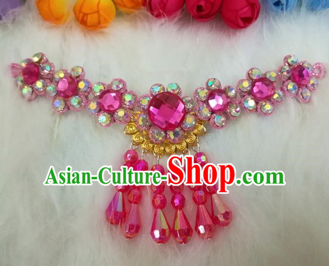 Chinese Traditional Beijing Opera Hair Accessories Peking Opera Diva Rosy Crystal Frontlet Hairpins for Adults