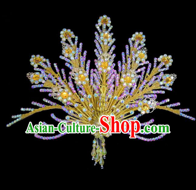 Chinese Traditional Beijing Opera Hair Accessories Peking Opera Diva Yellow Phoenix Hairpins for Adults
