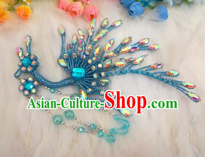 Chinese Traditional Beijing Opera Hair Accessories Peking Opera Diva Blue Phoenix Hairpins for Adults