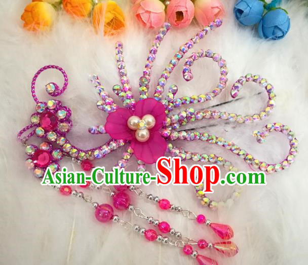 Chinese Traditional Beijing Opera Hair Accessories Peking Opera Diva Rosy Phoenix Hairpins for Adults