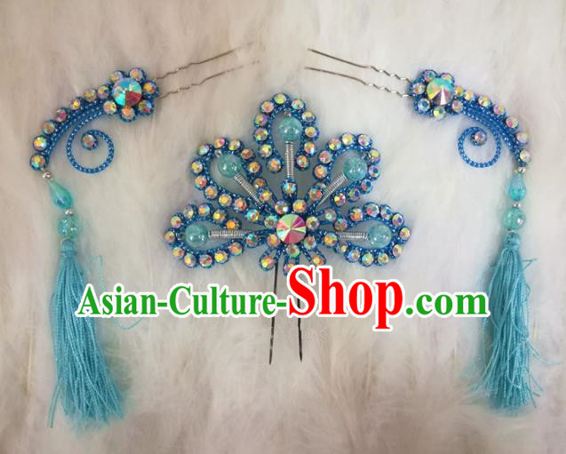 Chinese Traditional Beijing Opera Hair Accessories Peking Opera Blue Flower Hairpins Tassel Step Shake for Adults