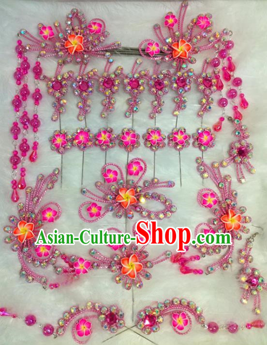Chinese Traditional Beijing Opera Hair Accessories Peking Opera Pink Flower Hairpins Complete Set for Adults