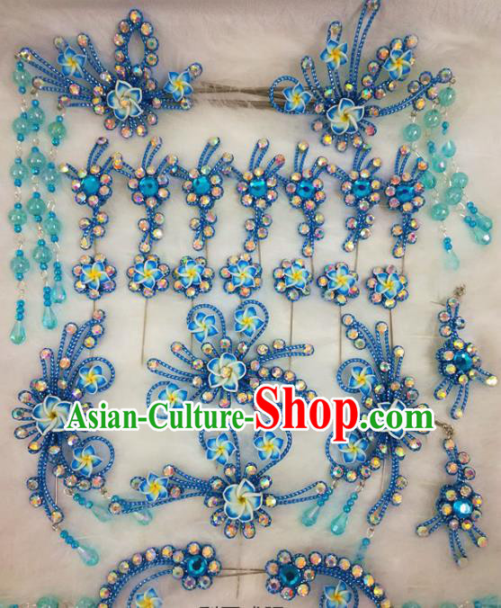 Chinese Traditional Beijing Opera Hair Accessories Peking Opera Blue Flower Hairpins Complete Set for Adults