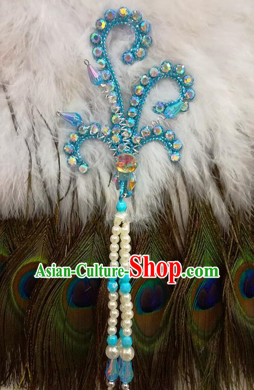 Chinese Traditional Beijing Opera Hair Accessories Peking Opera Beads Tassel Blue Phoenix Hairpins for Adults